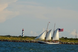 Lighthouse and Schooner Freedom seen from Vilano Beach