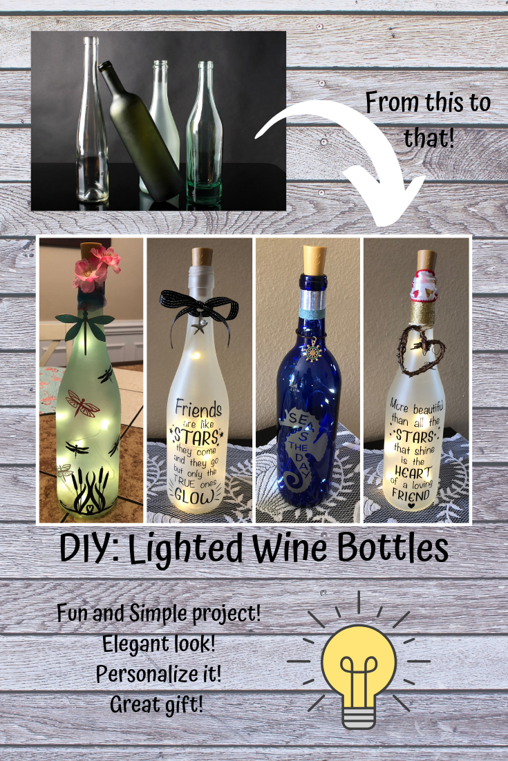 Wine Bottle Vinyl DIY CRAFT,No place like Home