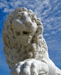 One of the lions of the Lions Bridge
